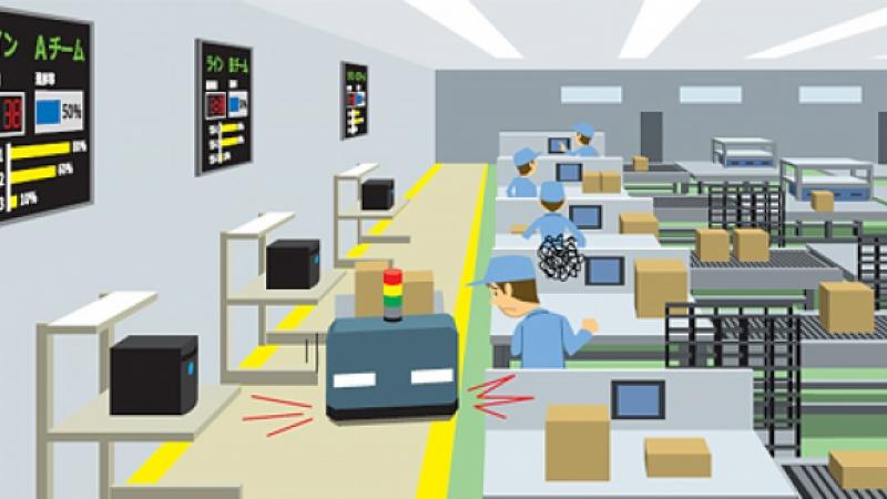 AGV(無人搬送車)が走行できる 作業スペースを確保したい! 現場でスペースを 削減できるものって